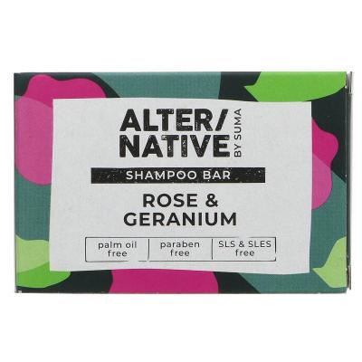 Picture of Hair & Body Shampoo Bar - Rose & Geranium 95g by Alter/native - 100% natural Hand-made vegan cruelty-free palm-oil free